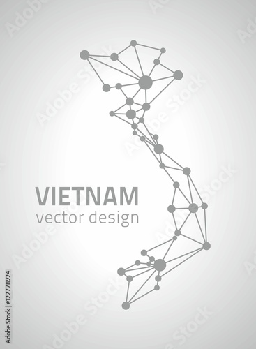 Vietnam outline grey and silver vector triangle map