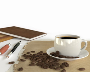 Coffee cup on table with coffee beans on white background, 3d illustration