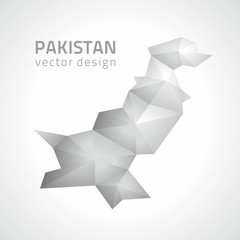 Pakistan polygonal grey and silver vector triangle perspective map