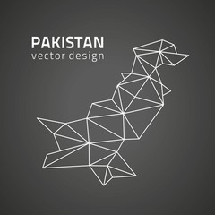 Pakistan contour black vector triangle map