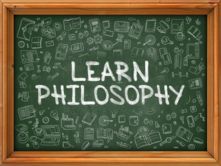 Learn Philosophy - Hand Drawn on Green Chalkboard.