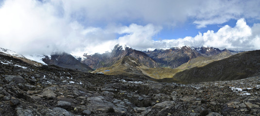 Mountain pass panorama, Huapi, Peru.