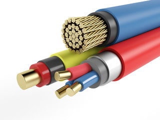 Electric copper armored cable on a white background. 3D rendering