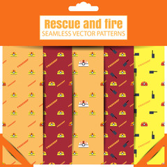 Vector set of seamless patterns of Rescue and fire in the retail package.