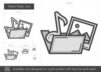 Media folder line icon.