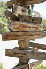 Wooden directional sign boards