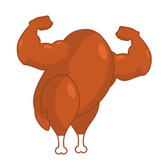 Strong roasted turkey. Powerful fried fowl. Muscular bodybuilder