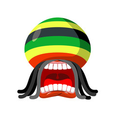 Rastaman screams. Rasta cry. Open your mouth and teeth. Loud scr