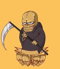 Grim reaper vector and illustration. monster in Halloween night