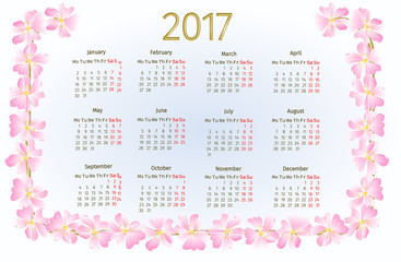 Calendar 2017 with wild rose blossoms vintage vector illustration