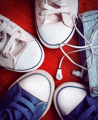 stylish sneakers and headphones