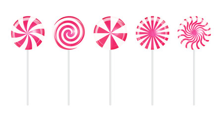 Realistic Sweet Lollipop Candy Set on White Background. Vector I