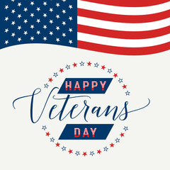 Happy Veterans Day with waving American flag Vector illustration