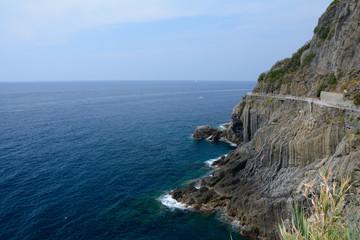 Rocky sea shore in Riomaggiore