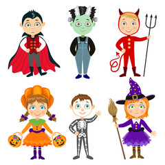 Set of Children in halloween costumes. Dracula, devil, witch