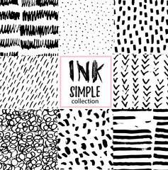 Vector set of hand-drawn stylish seamless patterns with ink strokes and textures.