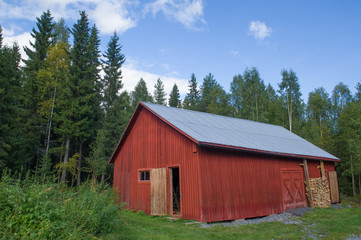 Old red barn in Sweden