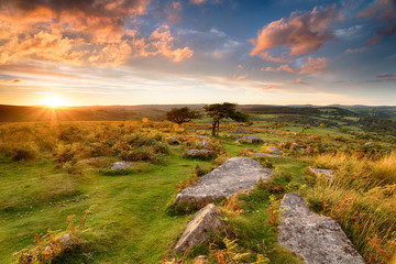 Wall Mural - Sunset over Dartmoor