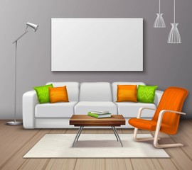 Modern Interior Colors Mockup Realistic Poster