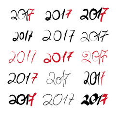 2017 New Year Black handwritten sign set on white background.