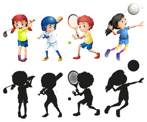 Boys and girls doing sports