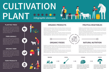 Plant Cultivation infographic flat vector illustration. Presentation Concept