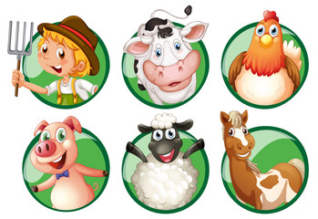 Farmer and farmanimals on round badges