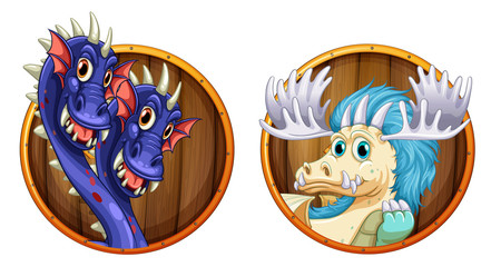 Dragons on wooden round badges