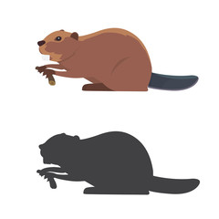 Funny beaver illustration, cartoon style. beaver silhouette