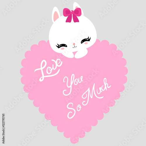 Cute little bunny with pink heart. I love you. Happy Valentine\'s ...