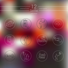 Set of selfie icons