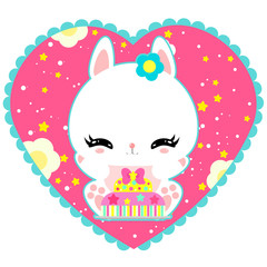Little cute white bunny with a cake in heart. Magic world. Birthday. Greeting card. Children's poster. Valentines day.