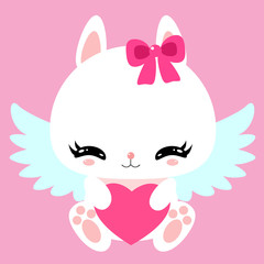 Little cute white bunny with angel wings and heart. Valentine's Day. Greeting card. Children' character.