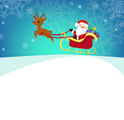 Cartoon illustration of Santa Claus in his sleigh. Vector illustration in one layer, without gradients.