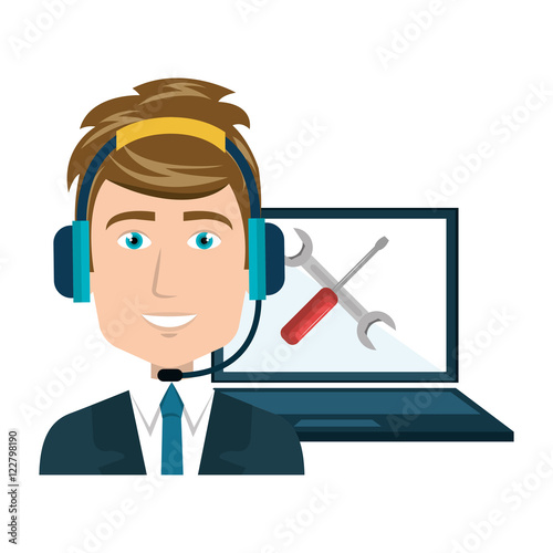 """avatar Man Smiling With Headset And Laptop With Repair"
