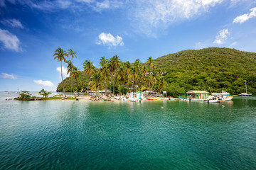 Marigot Bay, Saint Lucia, Caribbean. Marigot Bay is located on the west coast of the Caribbean island of St Lucia.