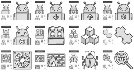 Programming line icon set.