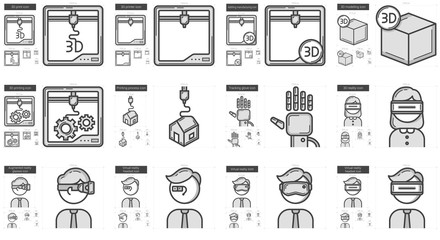 Virtual reality and 3D technology line icon set.