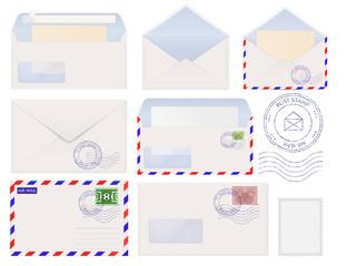 Set of envelopes, postal signs