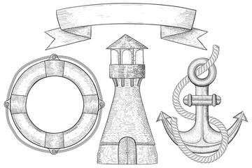 Nautical symbols - lighthouse, anchor, lifebuoy. Hand drawn sketch
