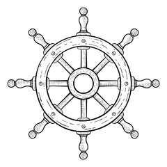 Steering wheel for ships and boats. Hand drawn sketch