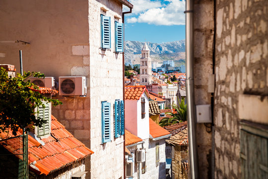 Street of Old Town Split in Dalmatia, Croatia