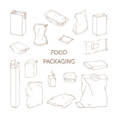 vector set of packages for food products