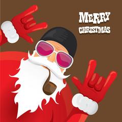 vector biker santa claus with smoking pipe.