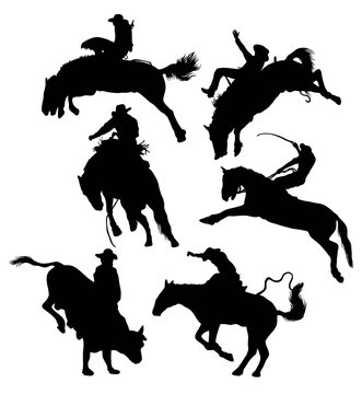 Activities silhouette man and bull riding Wild Horses Wild, Rodeo, illustration art vector design