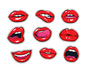 Vector stickers kit of female lips. Woman mouth with a kiss, smile, tongue and teeth isolated on background.