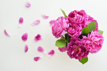 Bouquet of beautiful pink roses background. Top view flowers background.