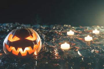 Halloween pumpkins at wood background