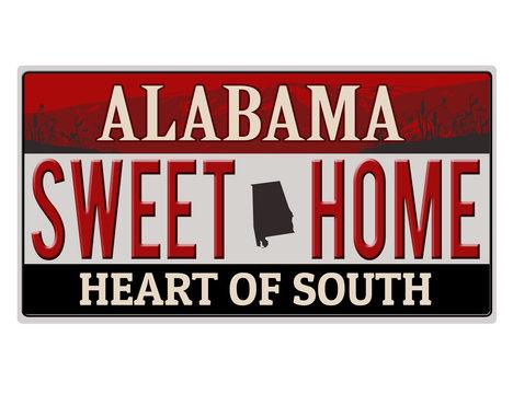An imitation Alabama license plate