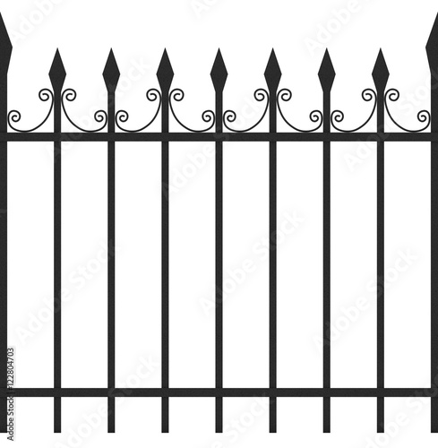 Seamless Tileable Iron Fence 3D Illustration Isolated on
